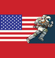 american astronaut patriot runs forward usa flag vector image vector image