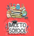 back to school poster design with school vector image vector image