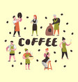 barista man and woman flat characters coffee shop vector image vector image