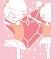 beautiful ballerinas ballet holding hands heart vector image
