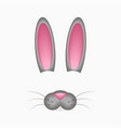 bunny or hare face elements - ears and nose vector image vector image