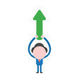 businessman character holding up arrow pointing up vector image vector image