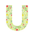 capital letter u green floral alphabet element vector image