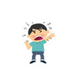 cartoon character of a angry asian boy vector image vector image