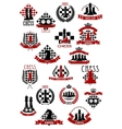 Chess game icons with chessboards and pieces vector image