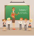 children with teacher on the lesson in classroom vector image