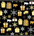 christmas seamless pattern with pigs presents and vector image