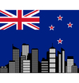 city and flag of new zealand vector image vector image