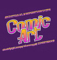 Comic art typeface artistic font isolated