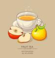 cup of apple tea vector image vector image