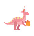cute dinosaur in party hat holding gift box funny vector image vector image