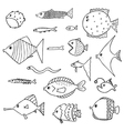 cute fish set outlined vector image