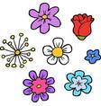 doodle flowers set vector image