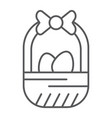 easter basket thin line icon easter and vector image vector image