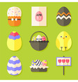 Easter icons set with shadows over green vector image vector image