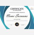 elegance horizontal certificate template vector image