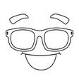 face emoji with glasses kawaii character vector image