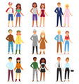 fashion couple boys and girls looks clothes vector image