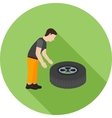 Fixing Punctured Tyre vector image