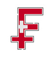franc currency symbol swiss with a flag icon vector image