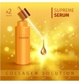 Gold realistic cosmetic tube poster with collagen vector image vector image