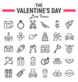 happy valentines day line icon set vector image