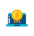 isolated bitcoin and laptop design vector image vector image