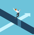 isometric businessman jumping over gap vector image vector image