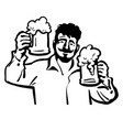 man with two beer mugs vector image