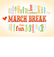 March Spring School Break Word Cloud Bubble Tag vector image vector image