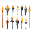 medieval torches with burning fire set vector image