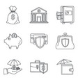money deposit icon set outline style vector image