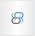 number 8 eight blue black logo vector image vector image
