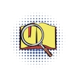 Open book with loupe comics vector image vector image