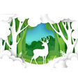 paper cut forest landscape and beautiful deer vector image vector image