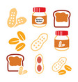 peanuts peanut butter - food icons set vector image vector image