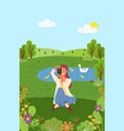 photographing nature woman with camera vector image vector image