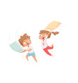 pillows battle happy children have fun free time vector image