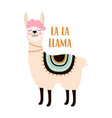 pink llama isolated on white vector image vector image
