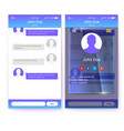 profile page with glass background ui of mobile vector image vector image