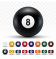 realistic 3d billiard balls with shadows vector image