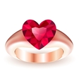 Ring with ruby heart shaped vector image vector image