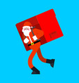 santa claus and big red bag many gifts huge vector image