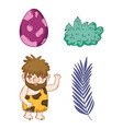 set dino egg with primitive man and plants vector image