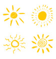 set of hand drawn chalk sun icons isolated on vector image vector image
