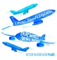 Set of watercolor planes vector image
