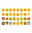 set pumpkins for halloween emoticons vector image