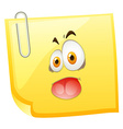 Silly face on yellow paper vector image vector image