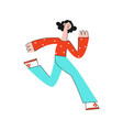 stylized woman running with smile at face vector image