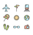 summer vacation colored icons set 01 vector image vector image